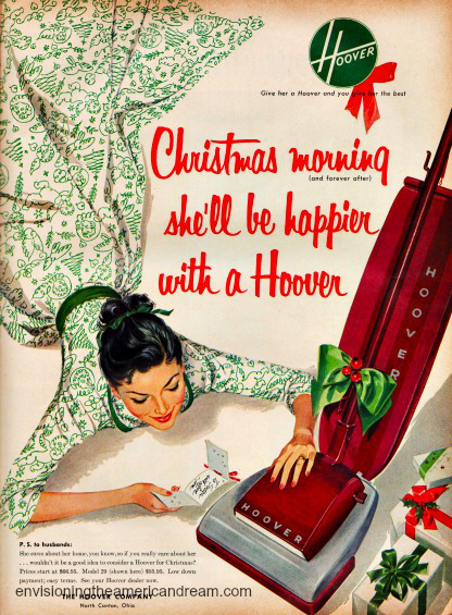 sexist vintage illustration housewife and vacuum cleaner